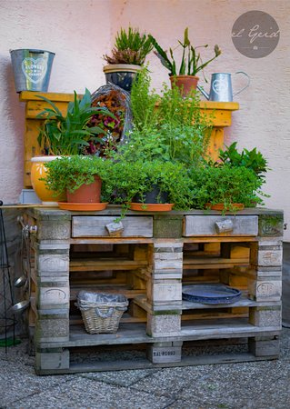 Landgasthof zur Linde: Kräutertisch im Hotelgarten