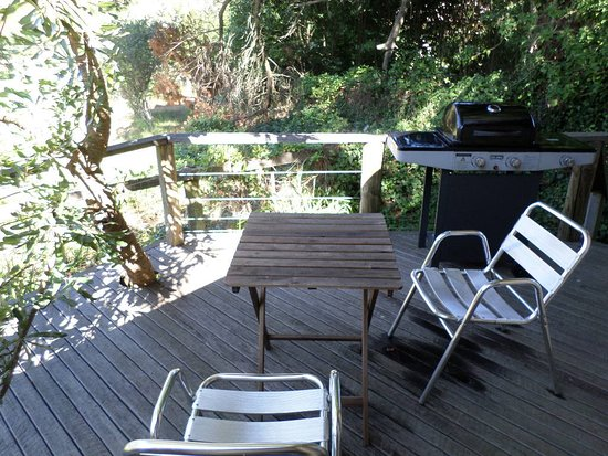Bower Cottage Accommodation: Deck overlooking paddock