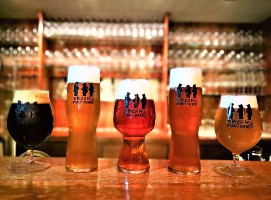 3 BeaRs Craft Brewery: Gorilla Stout, Goldilocks Blonde, Hunter's IPA, Jackal Pale Ale, Summer Snow Champagne Ale