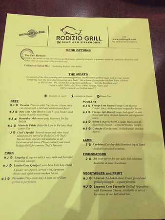 Rodizio Grill - Nashville: menu