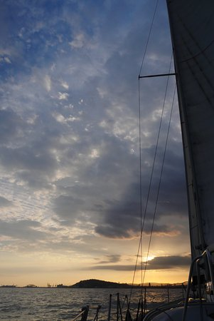 Sailing Barcelona: sailing at sunset