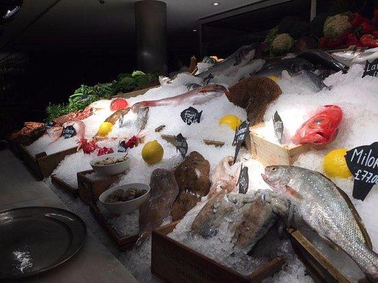 Greater London, UK: Fish market in the restaurant