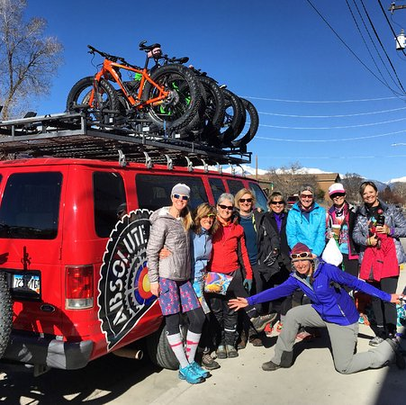 Salida, Colorado: Loaded up at Absolute Bikes for our Women's Winter on Wheels Adventure!