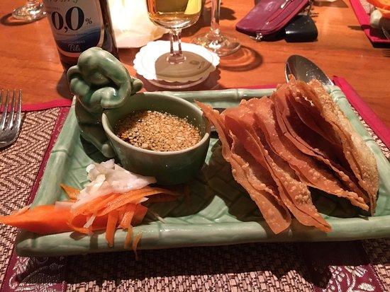 Melsungen, Germany: Bild 1:  Wantei frittiert mit rohem Gemüse und süßsaurem Dip. Eine vorzügliche Vorspeise!!!!  Bi