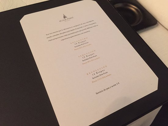 El Club Allard: The tasting menus to choose from.