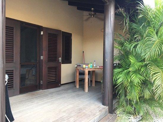 Bridanda Apartments Bonaire: Terrasse Tortuga mit vielen Palmen für Schatten und Sichtschutz