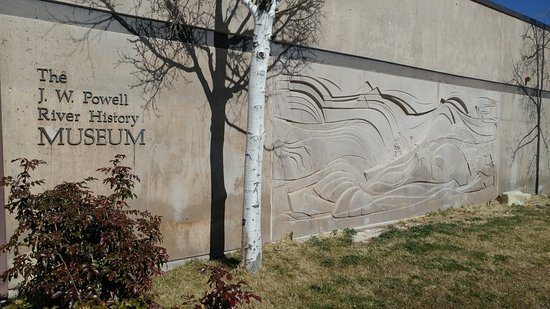 John Wesley Powell River History Museum: Side of building with bas relief