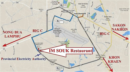 Udon Thani Map Picture of IMSOUK Restaurant European Thai Issan