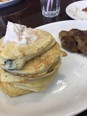 Lake Orion, MI: Blueberry & cream pancakes with turkey apple sausage and chocolate cookie pancakes