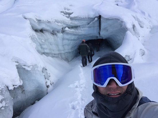 Salmon Berry Tours - Day Tours : About to enter ice cave at Matanuska Glacier in Alaska