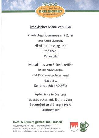 Memmelsdorf, Duitsland: Unser Menü