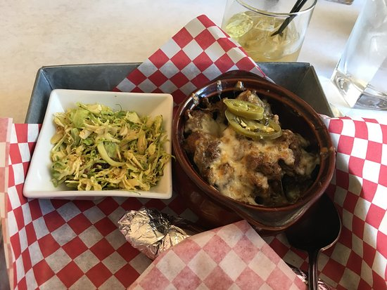 Hermiston, OR: Pork and green chiles with brussel sprout slaw