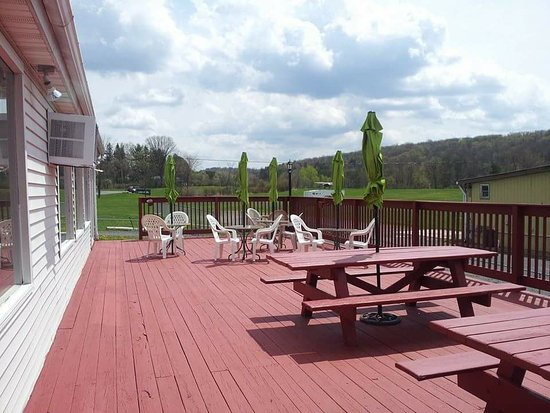 Duanesburg, NY: this is the back deck of the restaurant, cant wait to go back when the weather is nice