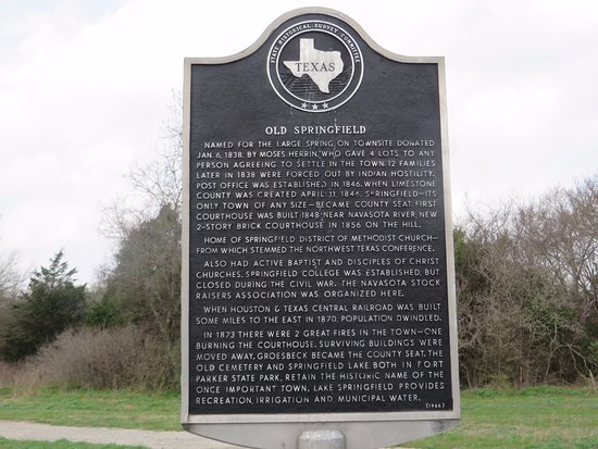 Mexia, TX: Historical Marker on the highway outside the park.