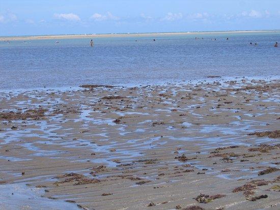 Beira mar da Praia do Holandês em Lucena, ao fundo banhistas antes dos bancos de areia