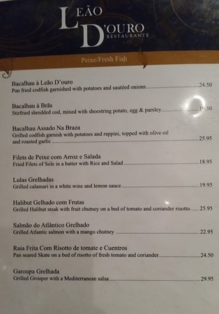 Leao d 39 ouro mississauga menu prices restaurant for Fresh fish company menu