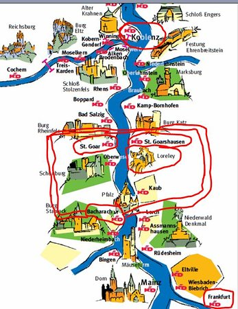Bingen Germany Map.Rhine River With Castles Alongside Koblenz Bingen Is A More