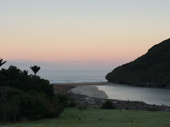 Kahurangi National Park, New Zealand: View from the Heaphy Hut of the mouth of the Heaphy River & Tasman Sea.