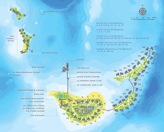 Resort map with villa numbers Picture of Cheval Blanc Randheli