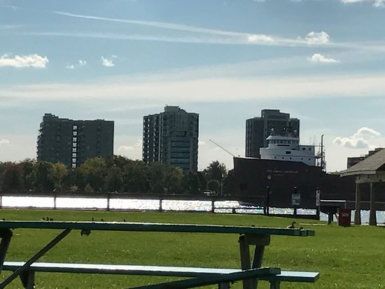 Belle Isle Park: Looking at a ship passing on the Windsor side of the island