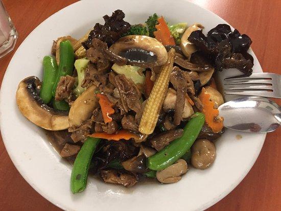 St Leonards, Australia: Braised Ling zhi mushroom with snow peas