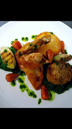 Kennford, UK: Guinea fowl, fondant potato and wild garlic