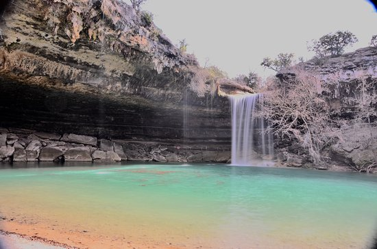 Dripping Springs, TX: 45 ft. waterfall on end