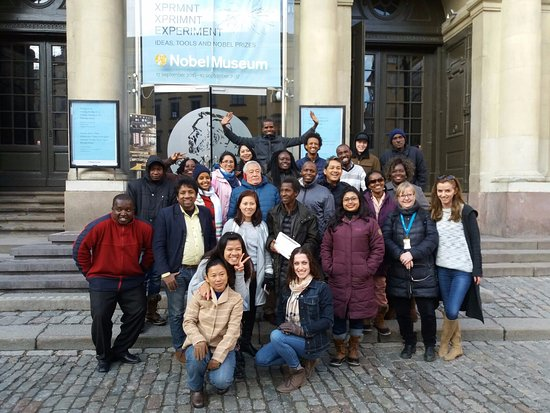 The Nobel Museum : At the entrance of the museum with the team