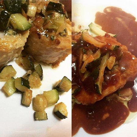 Restaurant La Esquina Del Real : Mero Braseado a la plancha relleno de espinacas, langostinos con salsa de pimiento de piquillo