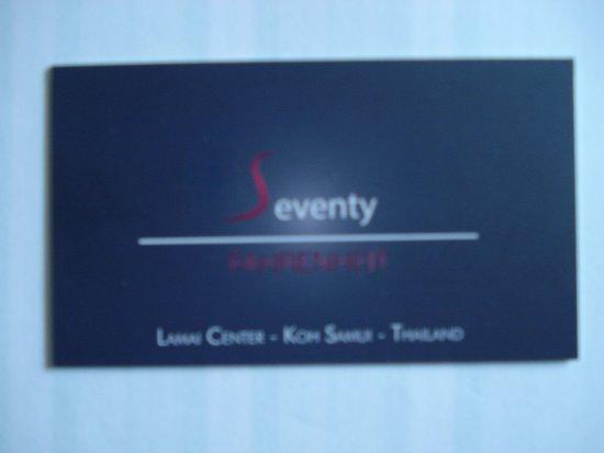 Seventy Fahrenheit La Carte De Visite