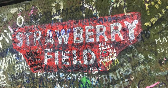 One of the pillars at the Strawberry Field gates.