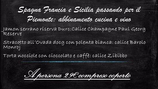 Rocca Grimalda, Italia: Menù abbinamento cucina e vino