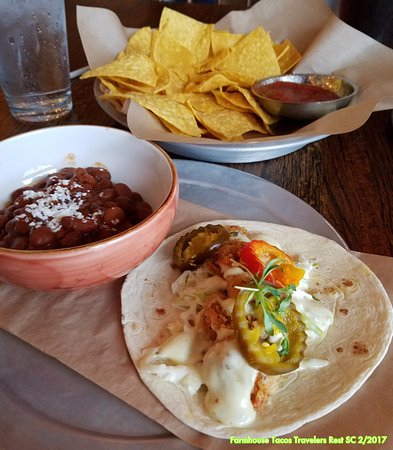 Travelers Rest, SC: Fish Taco with Camp Fire Pintos