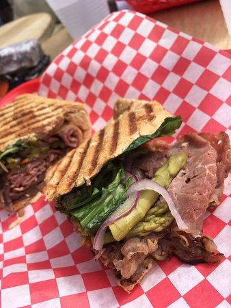 D'deli: Amazzz smoked rib eye panini w Gouda, horseradish, pickled asparagus, etc on wheat  DELISH. Kind