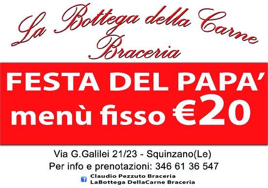 Squinzano, Italie : 19 MARZO FESTA DEL PAPA' , MENU' PRANZO CON PIATTI TRADIZIONALI SALENTINI PREPARATI DAL NOSTRO C