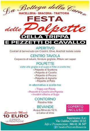 Squinzano, Italie : TUTTI I MARTEDI' E GIOVEDI ESCLUSO FESTIVI SPECIALE MENU' 10 EURO
