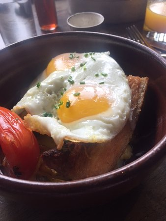 The Local Peasant : Pork belly w sunny side eggs.