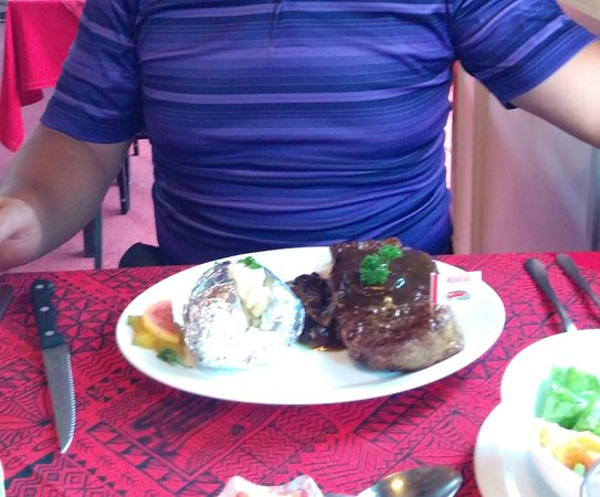Alberto's Restaurant: $36 ribeye plate (includes garlic bread, salad bar and dessert)