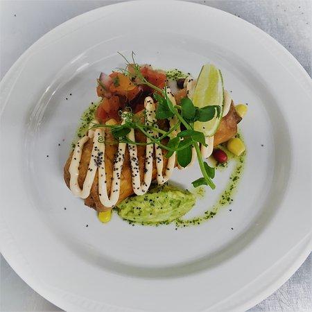 Prestwick, UK: Taquito,smoked pulled chicken,lime & black pepper with chipotle mayo & pico de gallo picod