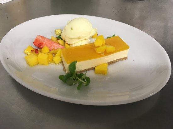 Prestwick, UK: Passion fruit & passoa parfait, mango, chilli & anise syrup & lime sorbet