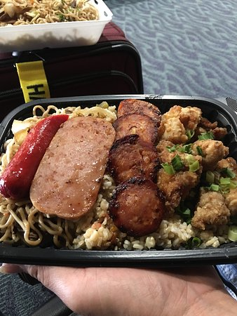 Ewa Beach, HI: Kokua pac. We added the fried saimin to our bento.