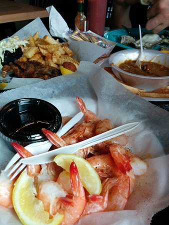 StingRay's on Tybee: Peel and eat shrimp, soft shell crabs, and gumbo. Everything served in single use.