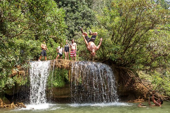 Lashio, Myanmar: Backflipping the smallest fall at Dark Horse Falls