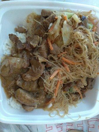 Havelock, NC: Pork Adobo with rice and Pork Pancit