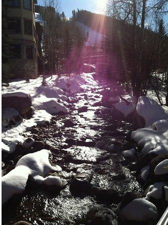 Beaver Creek Chapel: Stream at sundown outside of chapel