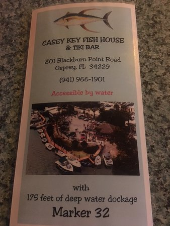 Menu Cover Picture Of Casey Key Fish House Osprey Tripadvisor