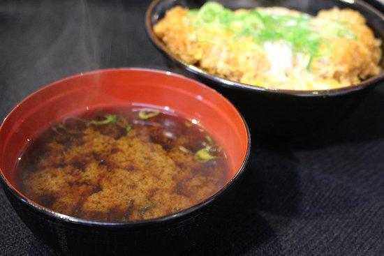 Katsudon Yoshibei Honten : Red miso soup goes well with Katsudon.