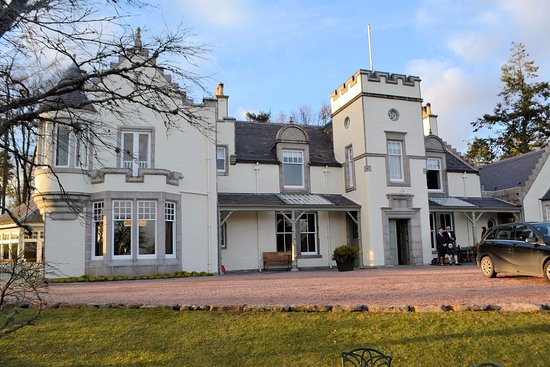 Aboyne, UK: From the garden, a view of the front of the hotel.