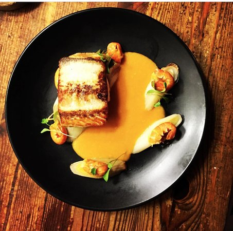The Butterfly And The Pig : Yet another delish fish dish you don't wanna miss   Pan fried Halibut with braised baby leeks