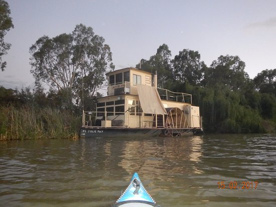 """Canoe the Riverland: The """"Julie Fay"""" docked on the open Murray. River paddle boats the backbone of the river system."""